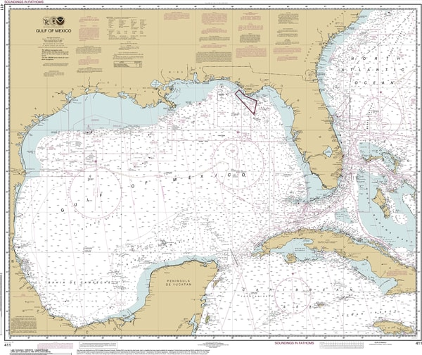 Louisianna Fine Art Noaa Nautical Charts, Canvas