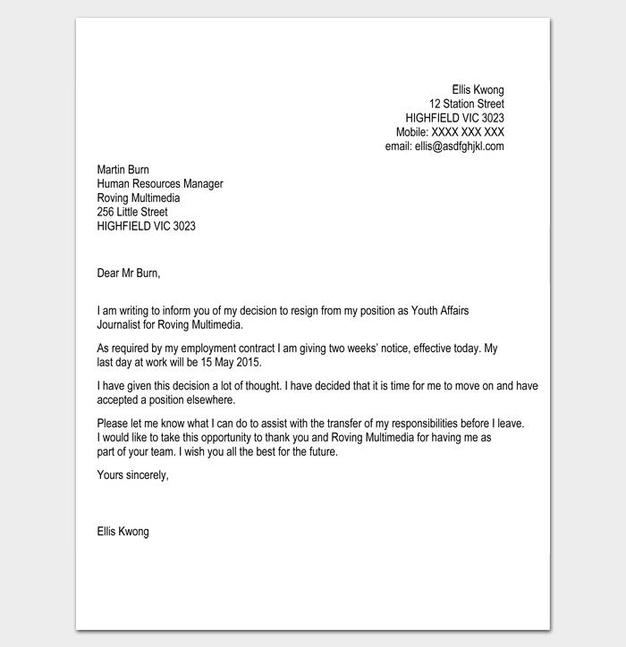 resignation letter etiquette