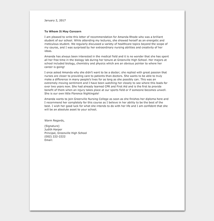nursing school recommendation letter example