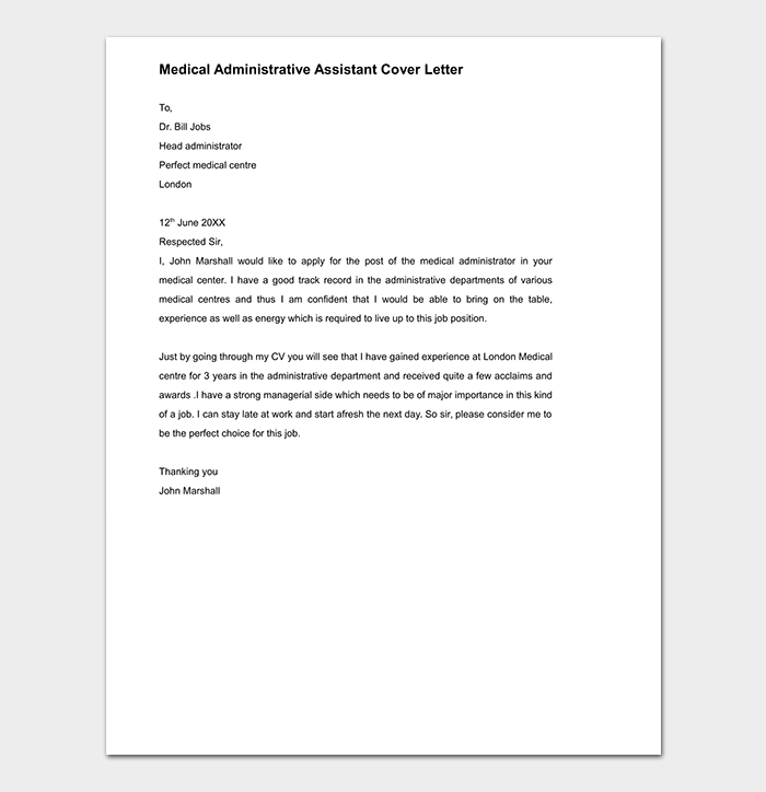 sample cover letter for administrative