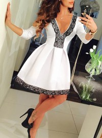 Fit and Flare Dress - White / Black Lace Trim / V Neck ...