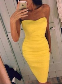 Strapless Pencil Dress - Bright Yellow / Slim Fitting ...