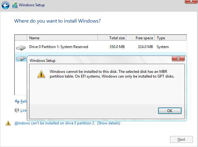 Windows cannot be installed to this disk, but to GPT disks Solved
