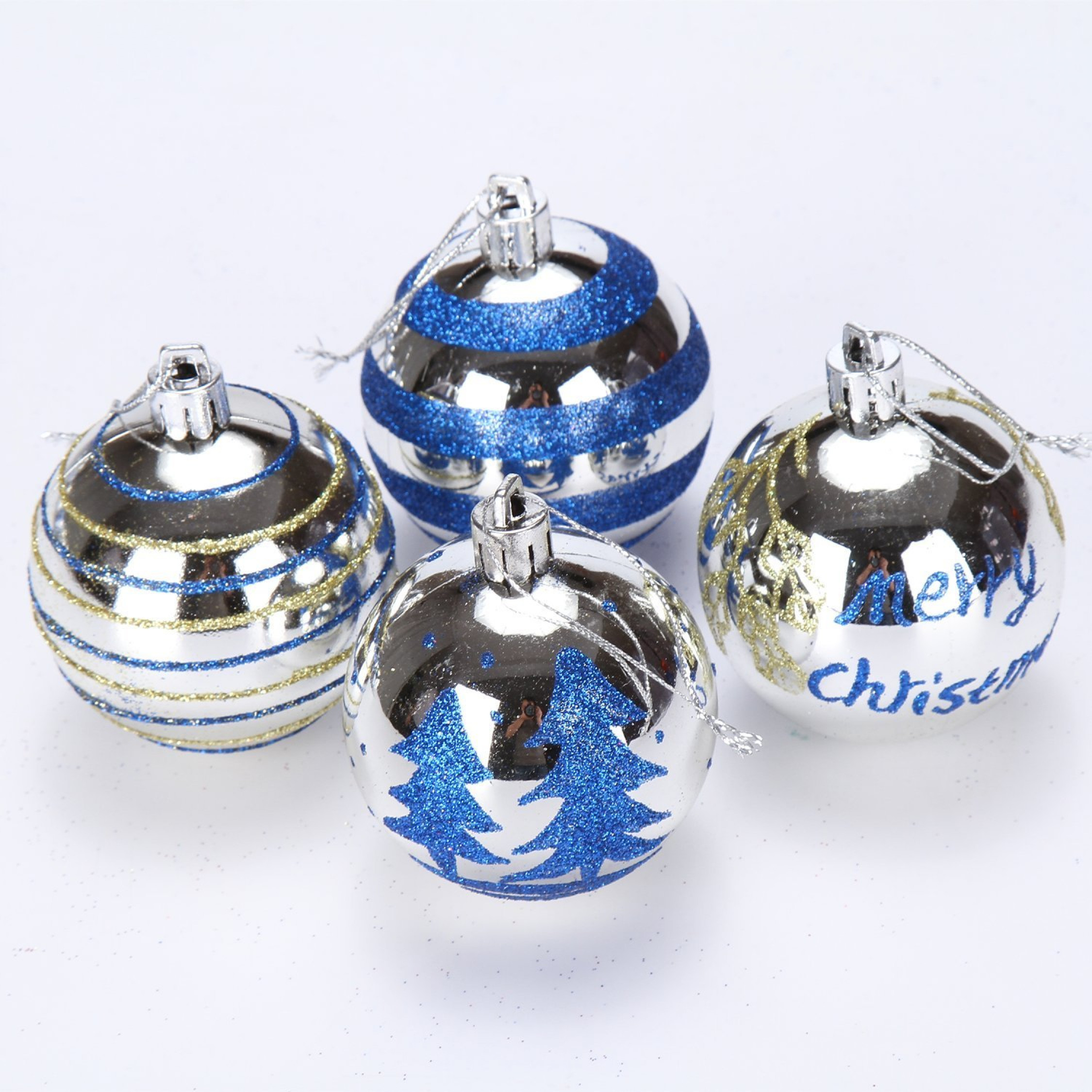 Dropshipping Decoration Shatterproof Christmas Tree Pendants Silver Baubles Balls