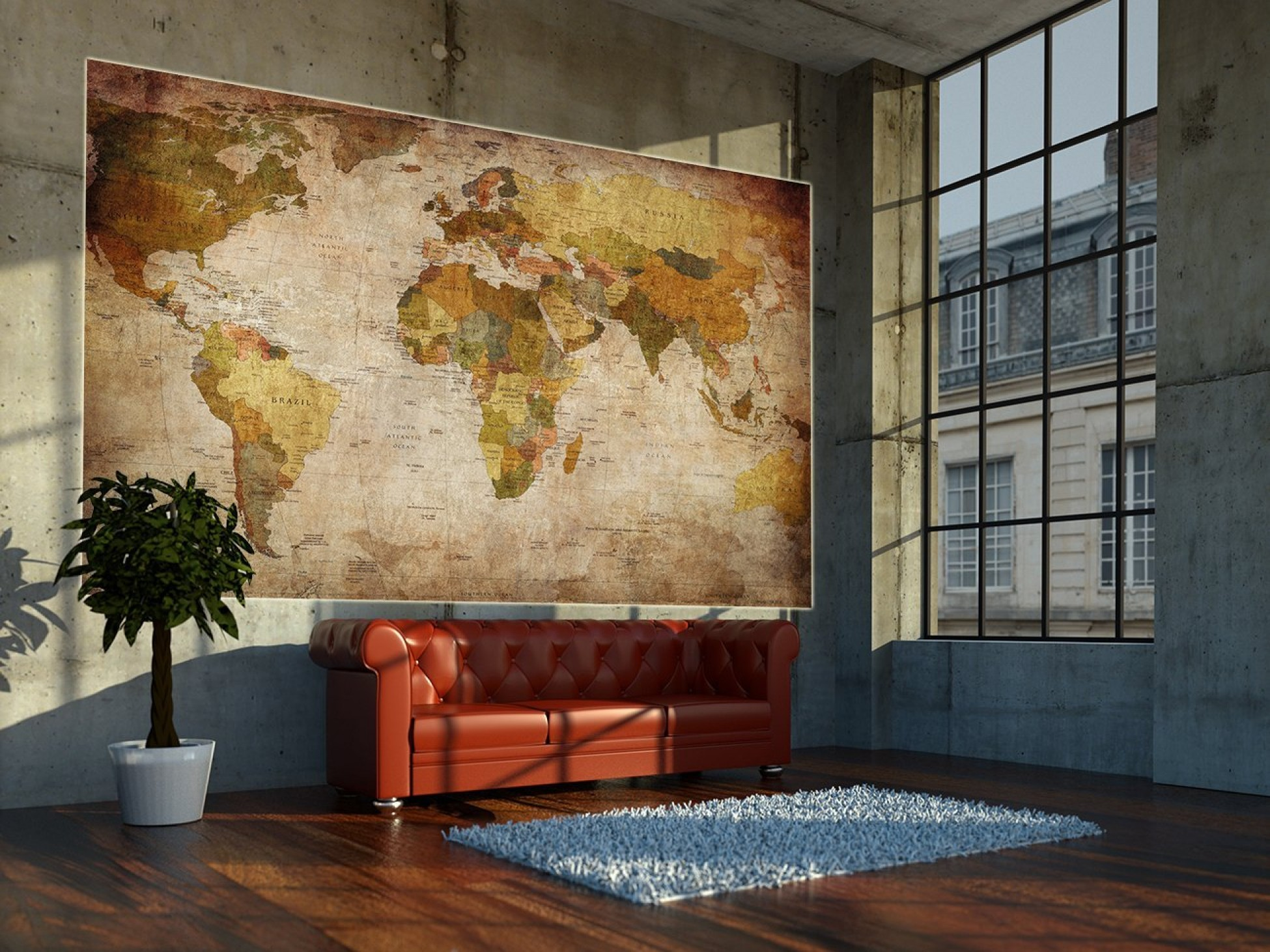 World Home Decor World Map Photo Wallpaper Mural Vintage Retro Motif Xxl