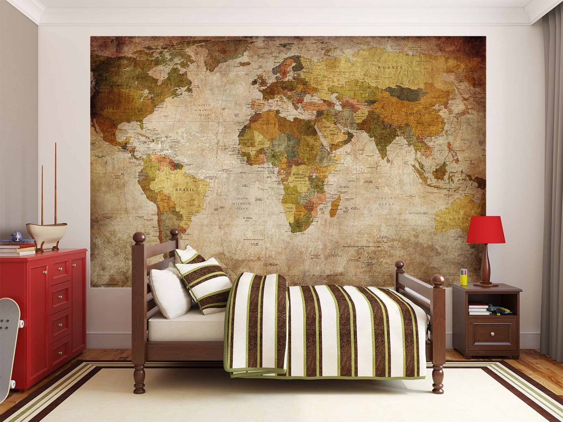 Dropshipping Decoration World Map Photo Wallpaper Mural Vintage Retro Motif Xxl