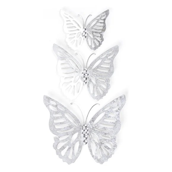 Set of 3 Silver Metal Butterflies