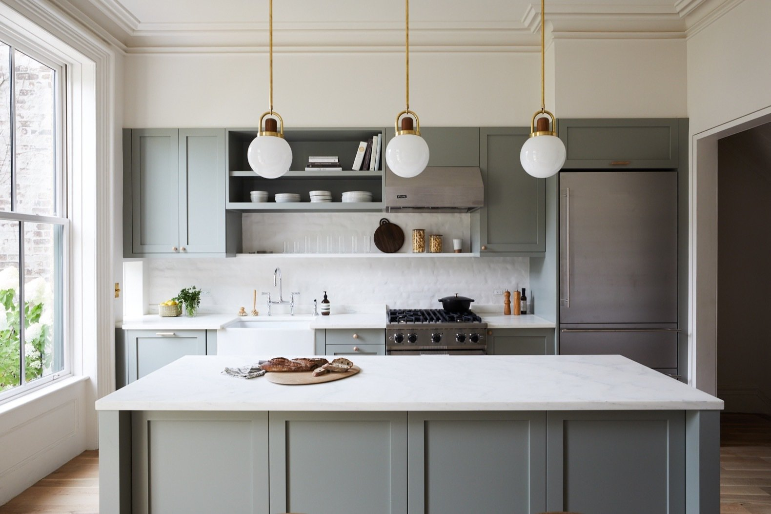 Crystal Kitchen Island Lighting Before & After: A 19th-century Brooklyn Brownstone Is