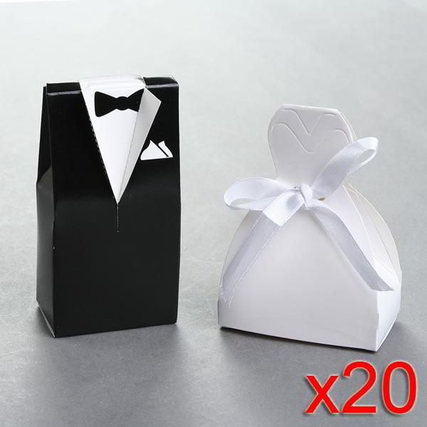 Kit de Cajas Frac y Vestido de Novia Recordatorios Boda 40 piezas