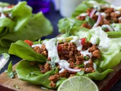 Mutable Cilantro Lime Crema Ground Turkey Tacos Lettuce Wraps Ground Turkey Tacos Taco Seasoning Ground Turkey Tacos Pinterest Cilantro Lime Crema Recipe Ground Turkey Tacos Lettuce Wraps
