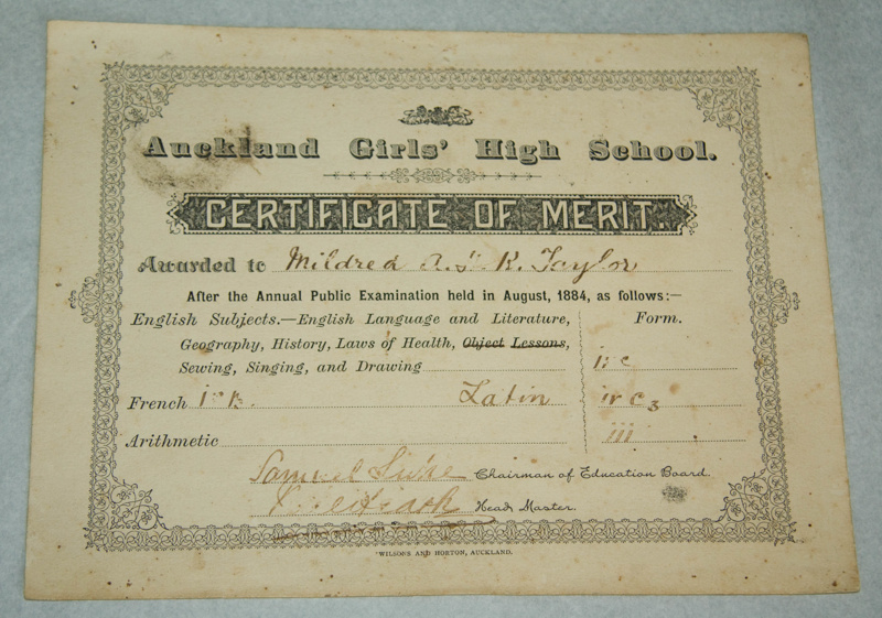 Certificate, \u0027Certificate of Merit awarded to Mildred Kerr Taylor - merit certificate comments