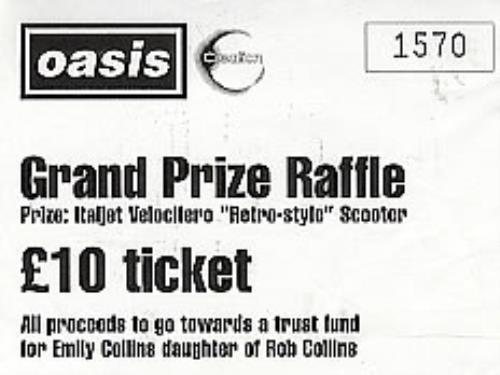 Oasis (UK) Grand Prize Raffle Ticket UK memorabilia (290741) RAFFLE - raffle ticket prizes