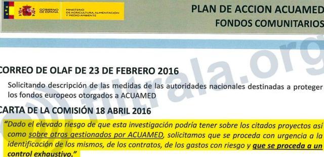 """Carta de la Comisión exigiendo un """"control exhaustivo"""" de las obras de Acuamed"""