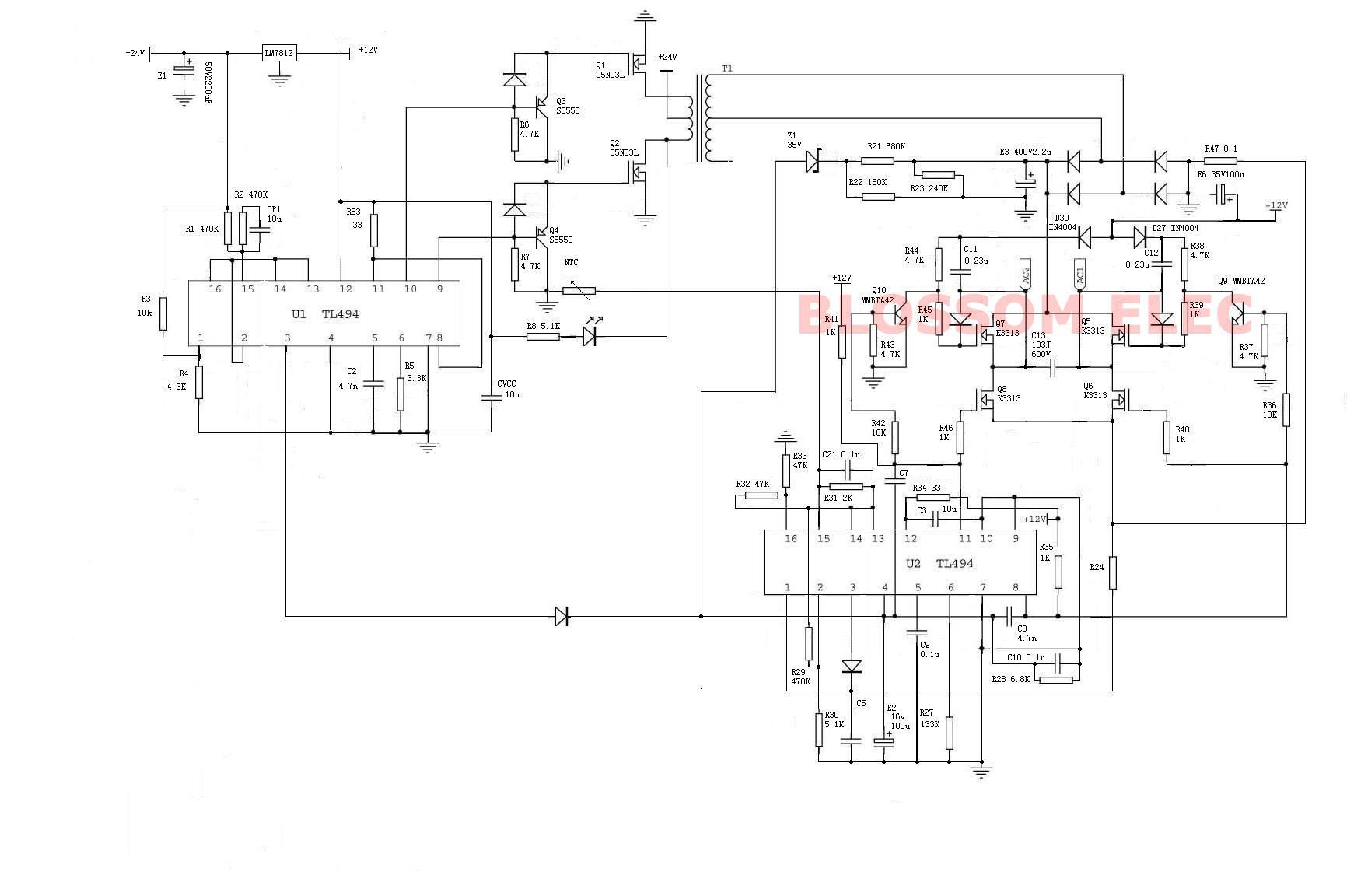 inverter circuit diagram 12v 500w