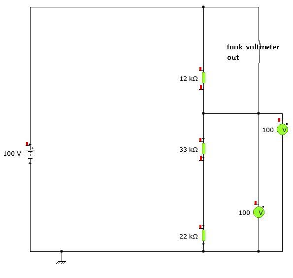 YENKA simple series circuit voltage diagram voltages calculated problem