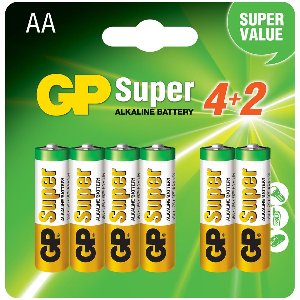 Batterie Aa Gp Batteries Ic Gp151230 Blister 6 Batterie Aa Stilo Gp Super