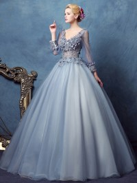 Ericdress Long Sleeves V-Neck Ball Gown Lace Long ...