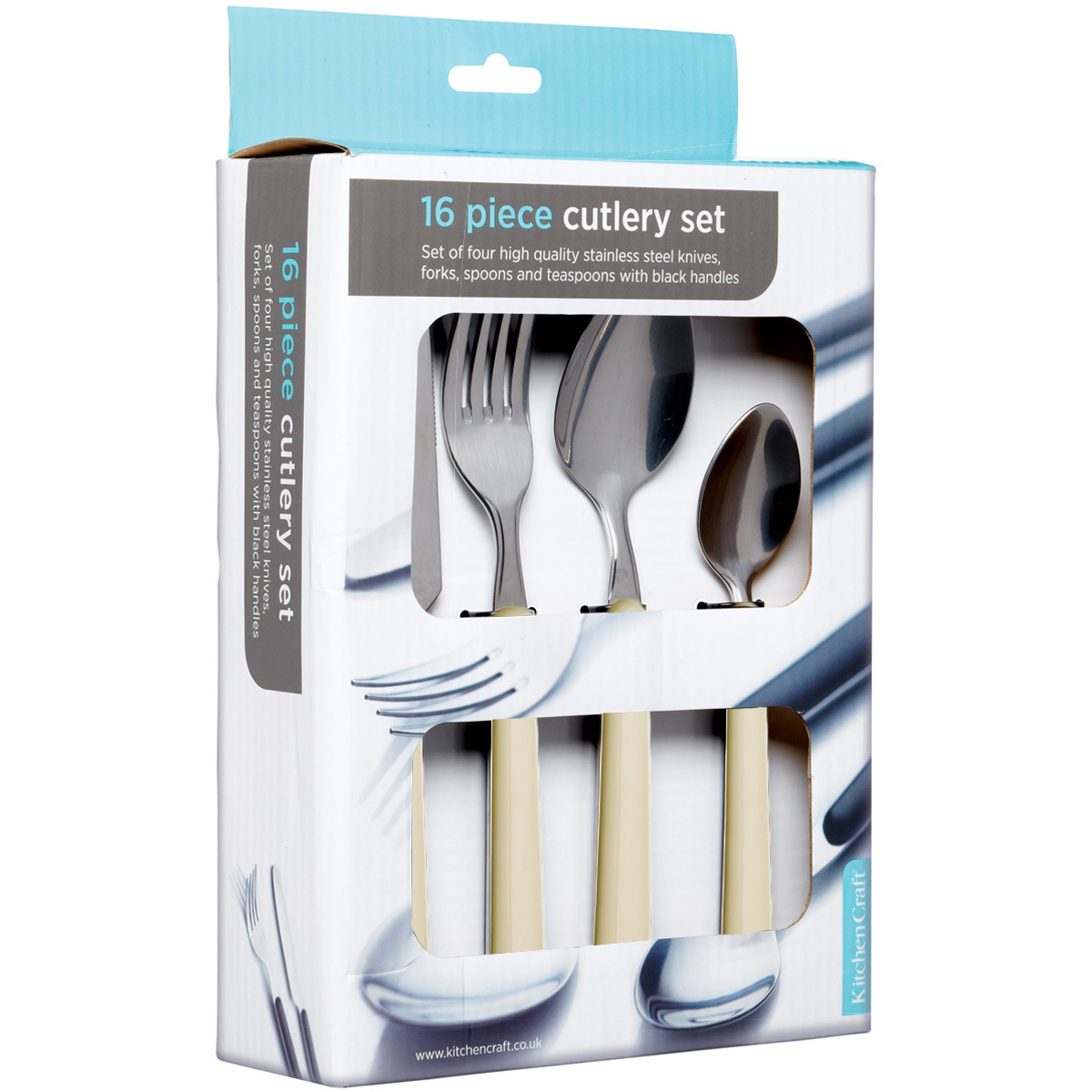 Spoons Forks Knives Set New Kitchencraft Stainless Steel Cream 16 Piece Cutlery