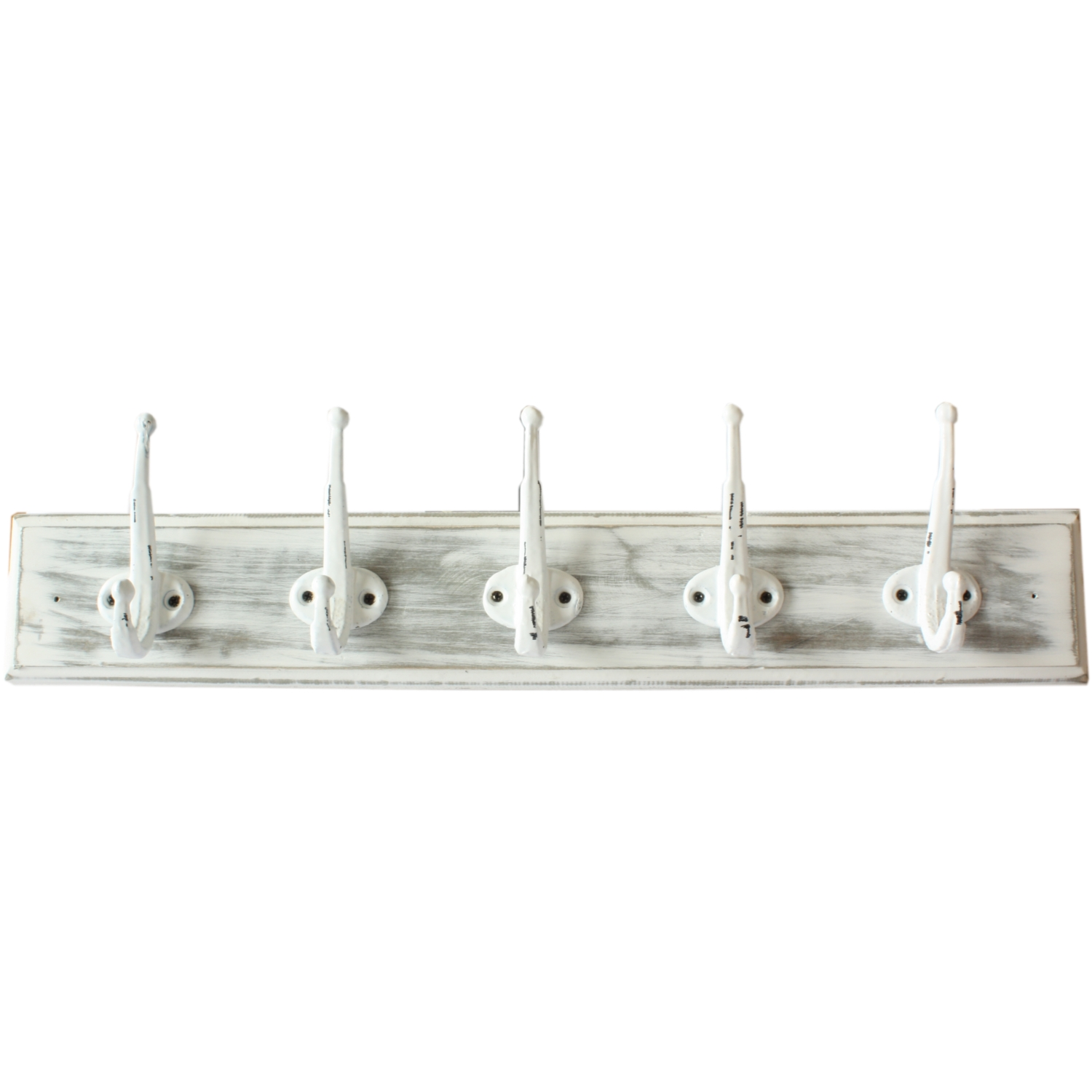 New England Wooden White Distressed 5 Hook Coat Rack