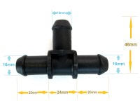 2 T connectors 16mm for silicone/rubber hose pipe kit car ...