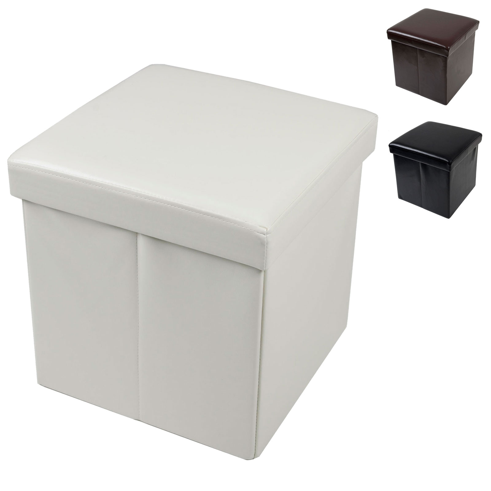 Masters Cube Storage Folding Storage Stool With Lid Faux Leather 37cm Cube Box
