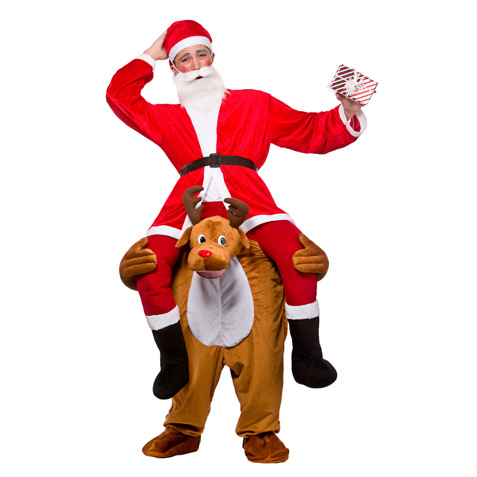 Adults carry me reindeer festive christmas fancy dress up party mascot costume