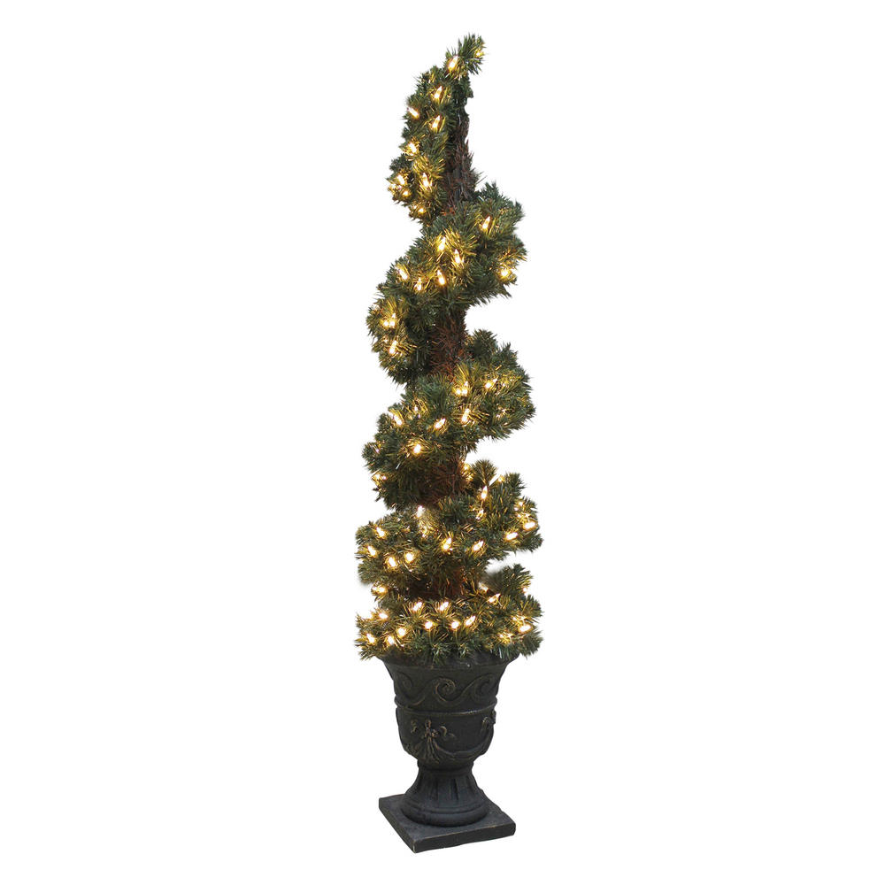 Pre Lit Artificial Spiral Shaped Christmas Tree Indoor Outdoor