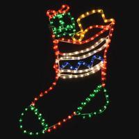 Multicoloured LED Rope Light Stocking Christmas Decoration ...