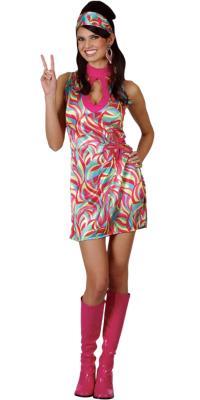 Ladies Hippie Go Go Girl XS Teen Size Fancy Dress ...