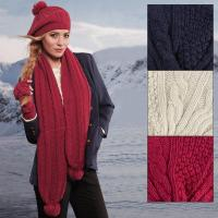 Ladies Brandy Cable Knit Winter Accessory Set - Hat Scarf ...