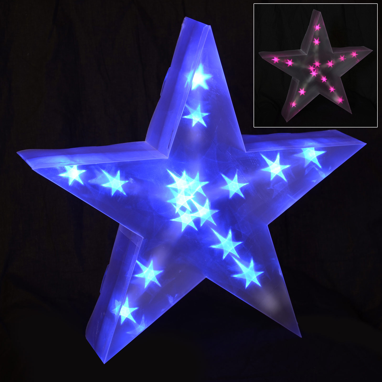 Christmas Star Lights Holographic Led Star Light Up Christmas Decoration Battery