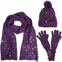 Macie Ladies Bobble Hat Scarf & Gloves Accessory Set With ...