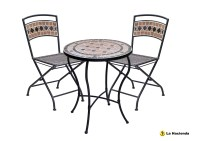 POMPEI BISTRO TABLE / CHAIR SET. 2 CHAIRS. PATIO, GARDEN ...