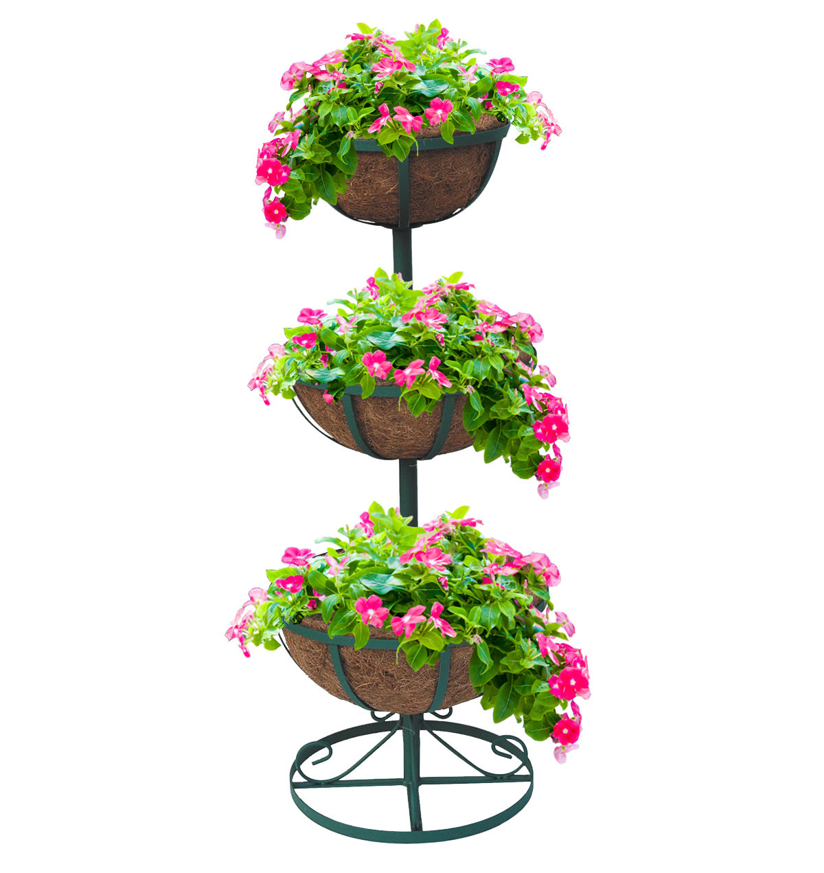 Three Tier Flower Pots 3 Tier Planter Stand With Coco Liners Garden Flower
