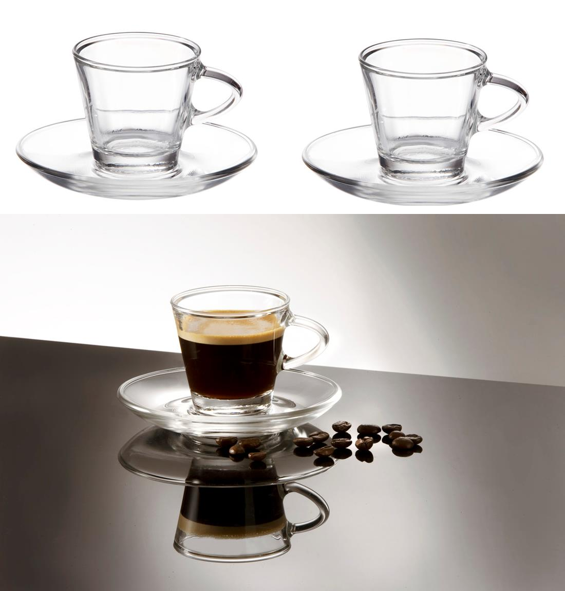2 clear small glass espresso coffee cups saucers 80ml set of 2 gift boxed