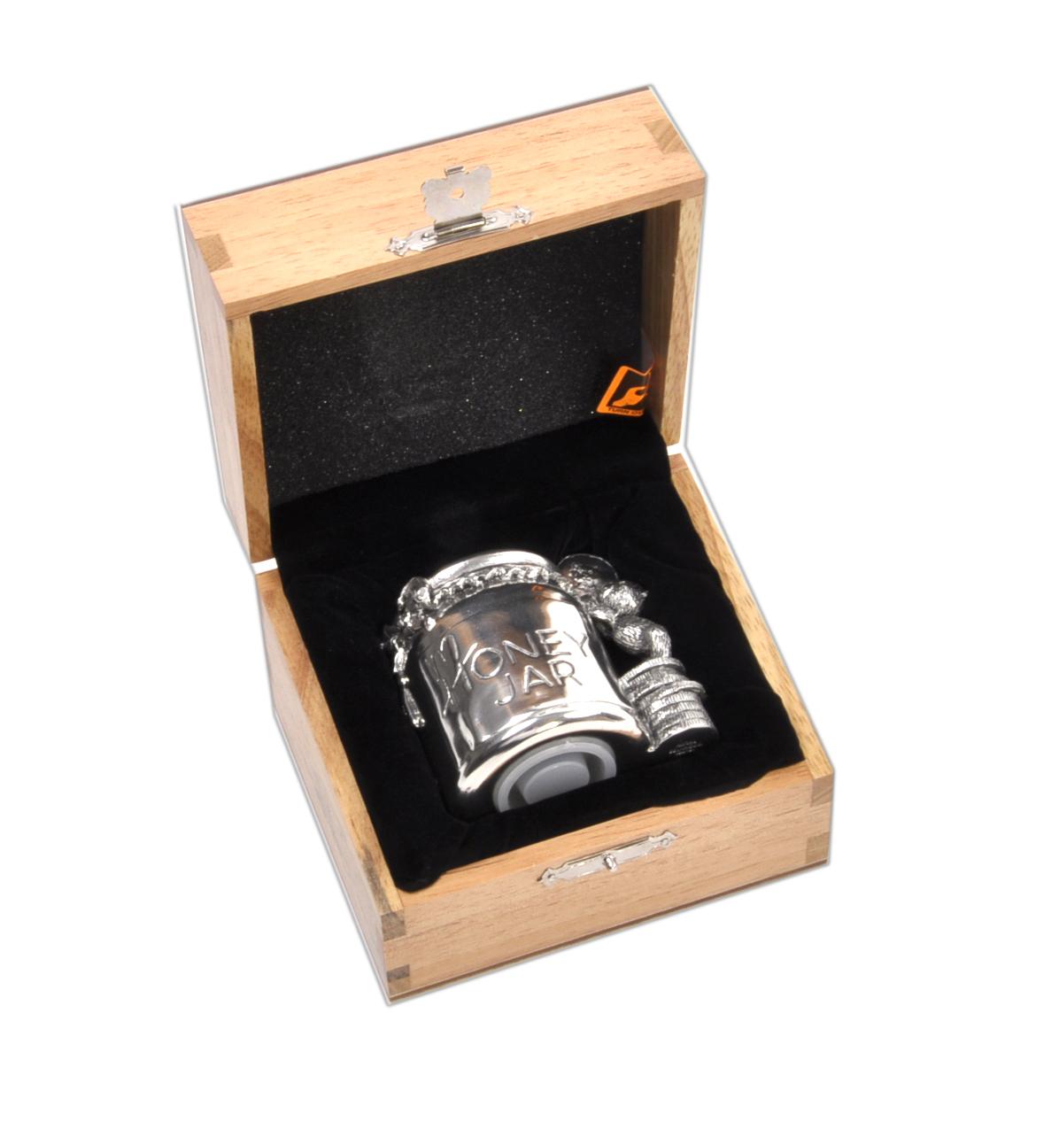 Honey Jar Pewter Money Box By Royal Selangor In Wooden