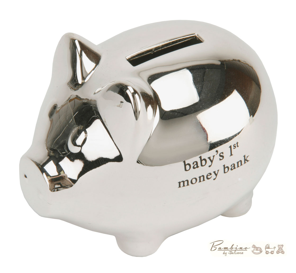 Silver Piggy Bank For Baby Bambino Baby Christening Gifts Silver Pig Shaped Money