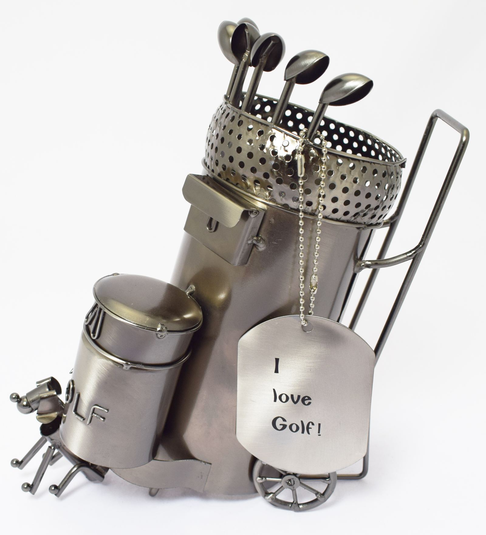 Funny Wine Bottle Holders Novelty Metal Wine Bottle Holder Golf Caddy With Dog Clubs