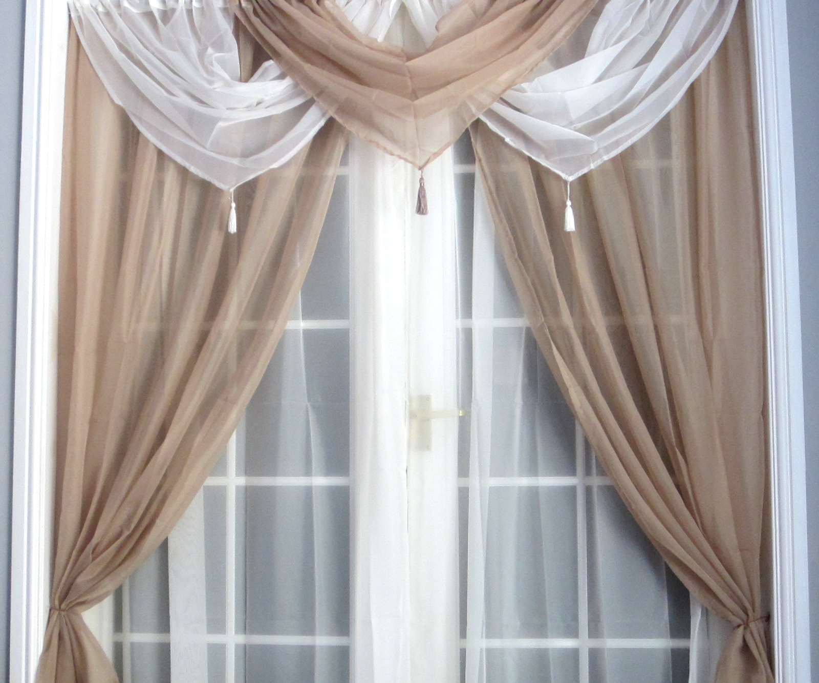 Draping Curtains Details About Cream White Voile Swags And Tails Set Curtains Slot Top Window Door Drape Net