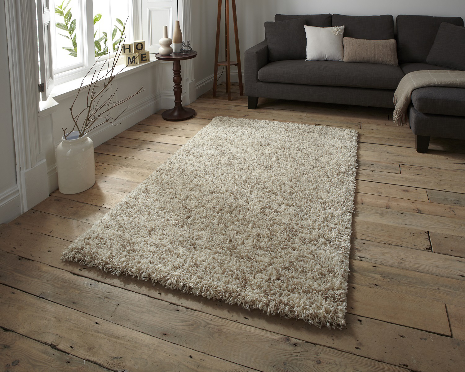 Portico Alfombras Vista Cream Shaggy Pile Rug Machine Made 100
