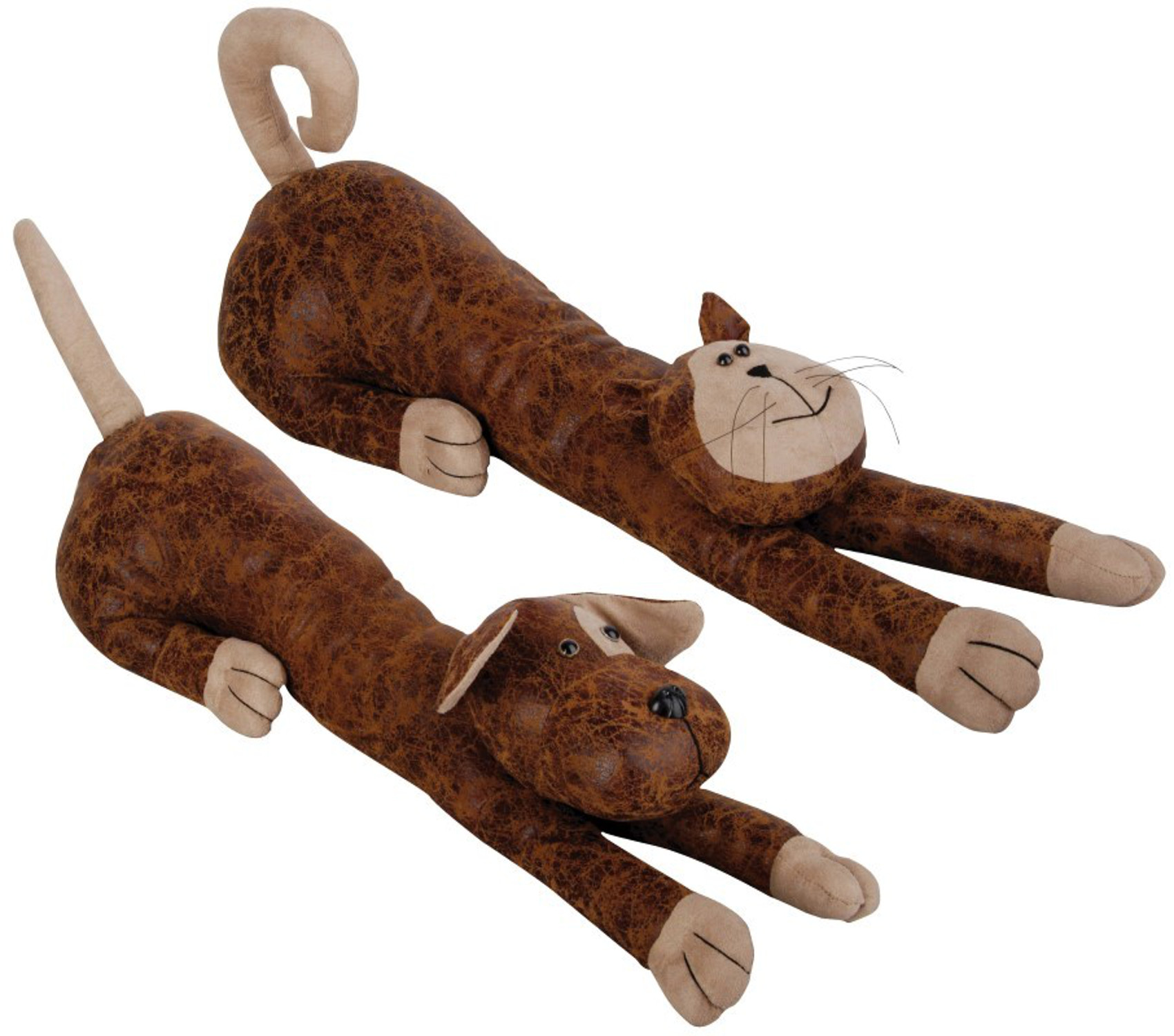 Cat Door Stops Faux Leather Suede Animal Draught Excluder Heavy Door Stop