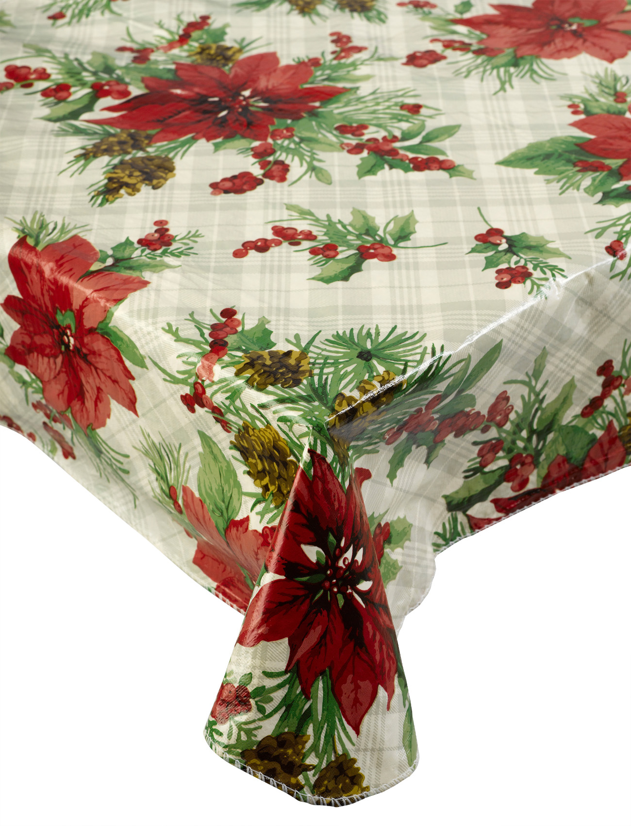 Christmas Tablecloths Australia Details About Check Poinsettia Christmas Pvc Tablecloth Xmas Flannelback Table Linen 52
