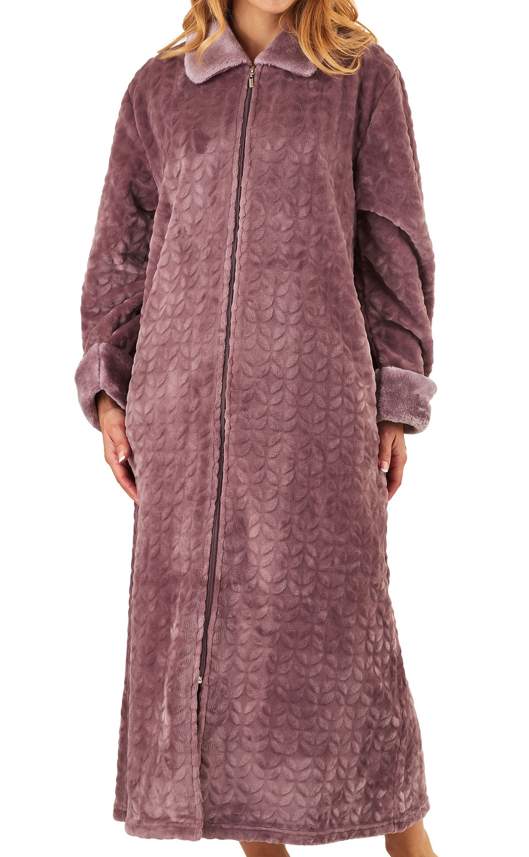 Robe De Chambre Polaire Fermeture Eclair Slenderella Ladies Zip Up Dressing Gown Super Soft Faux