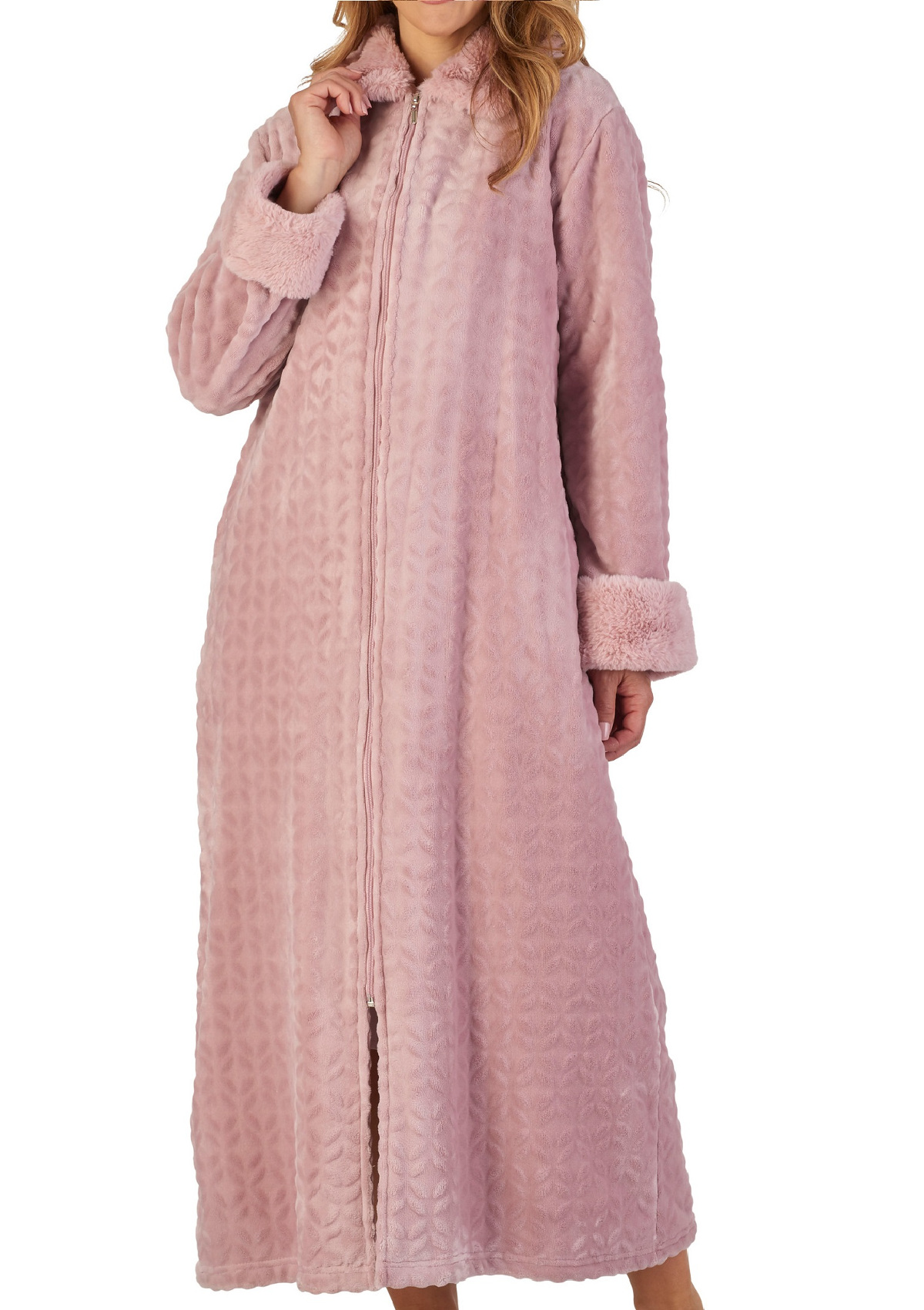 Robe De Chambre Polaire Fermeture Eclair Dressing Gown Ladies Faux Fur Trim Zip Up Fleecy Bathrobe