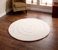 Spiral Hand Tufted 100% Wool Circular Rug Modern Textured ...