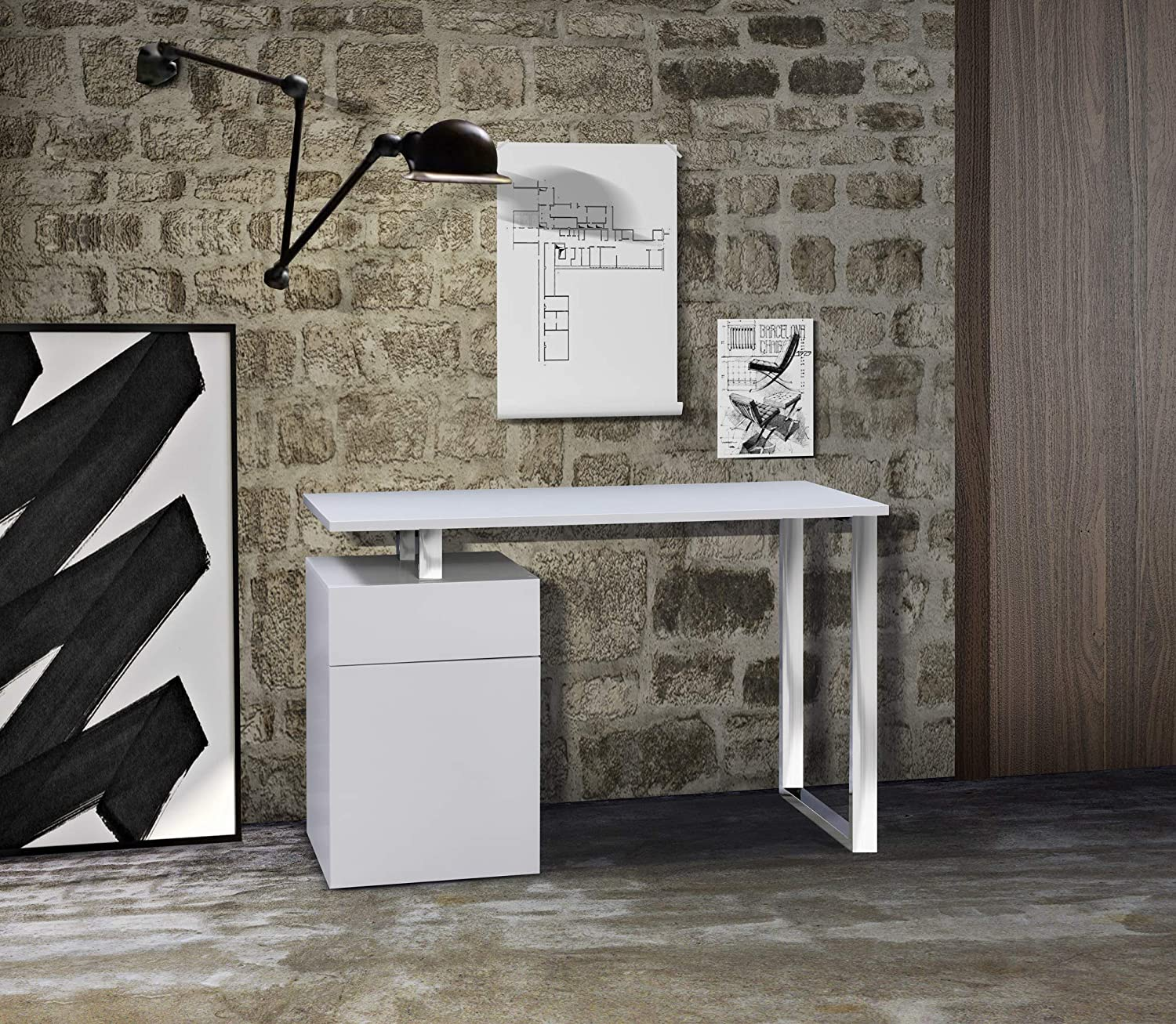 White Desk With Chrome Legs Centurion Supports Calista Gloss White With Chrome Legs 3