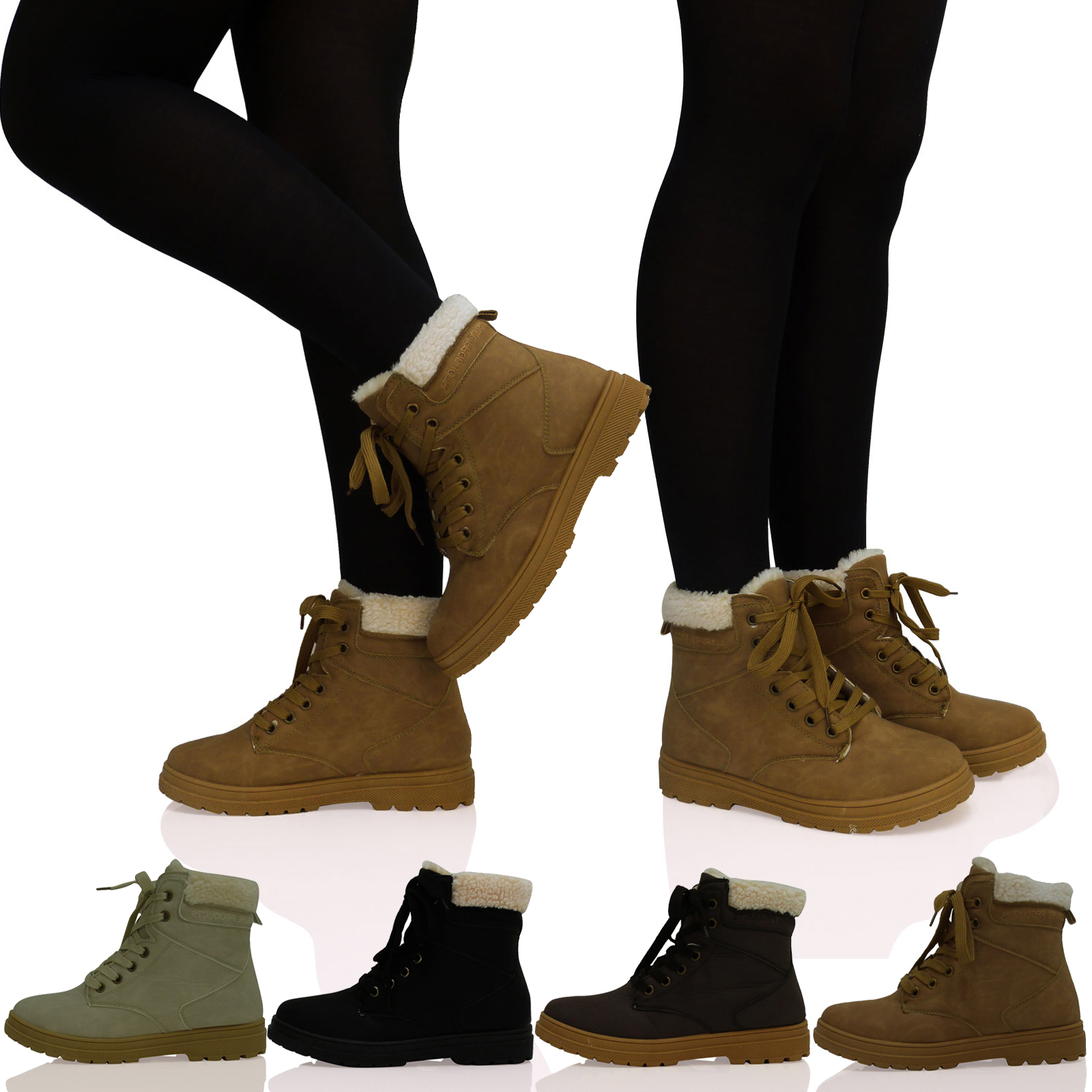Ladies Womens Girls Lace Up Fur Lined Winter Ankle Grip