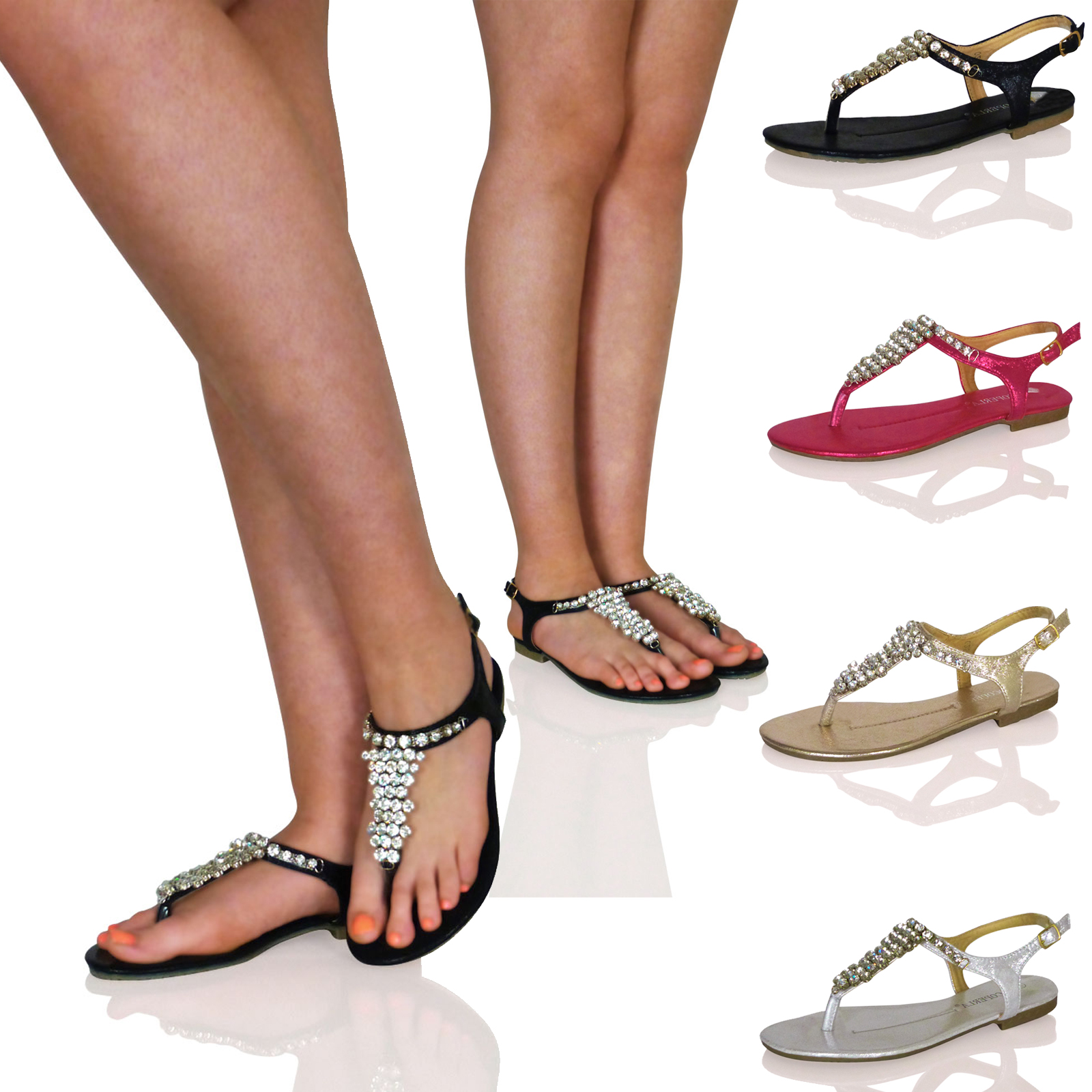 H4p womens diamante party sandals summer holiday ladies girls flip flops shoes