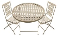 Folding Round Garden Patio Table With 2 Square Chairs ...