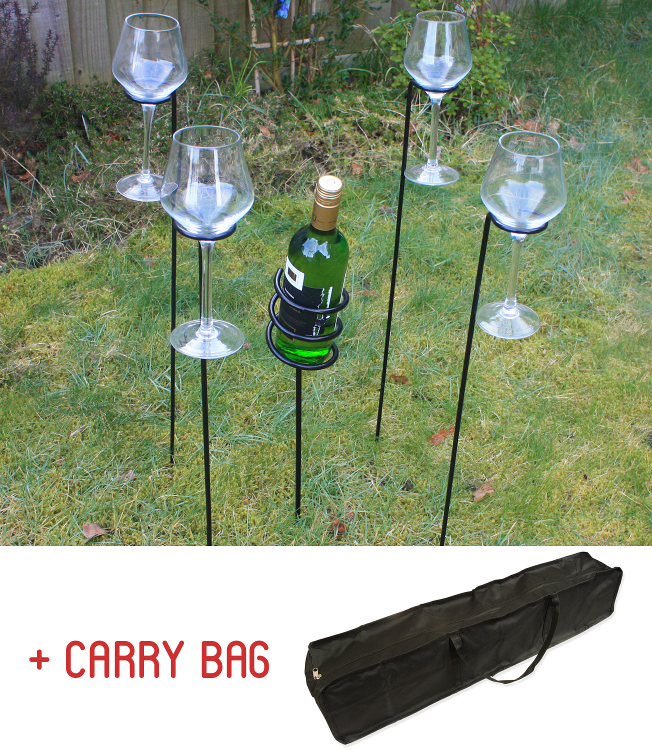 Empty Wine Bottle Holder Woodside Outdoor Wine Bottle And Glass Holder Set With Carry
